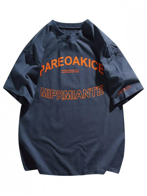 Letter Graphic Crew Neck Basic T Shirt - ازرق غامق 2XL