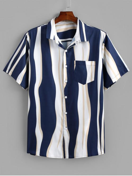 Curved Striped Print Button Up Pocket Shirt - ازرق غامق 2XL