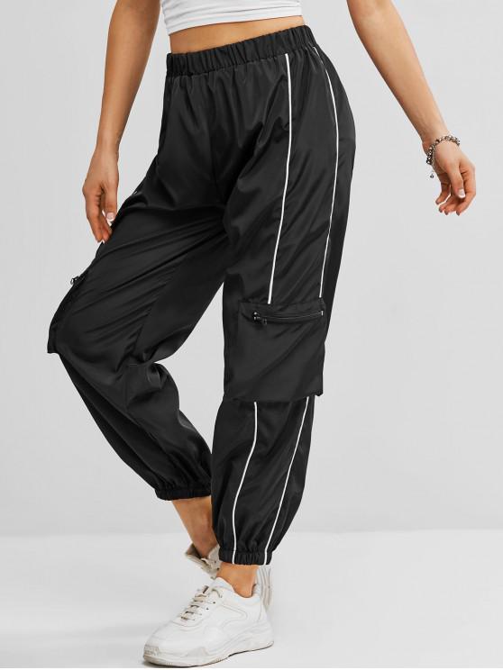 shop Windbreaker Zippered Pockets Cargo Jogger Pants - BLACK M