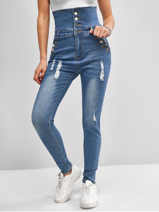Jeans Rasgado y Botones - Azul 2XL