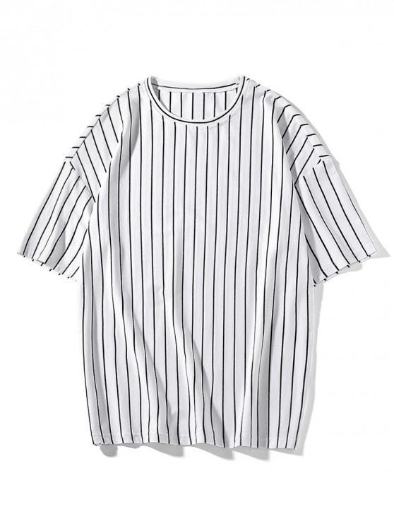 Vertical Stripes Print Drop Shoulder T-shirt - أبيض M