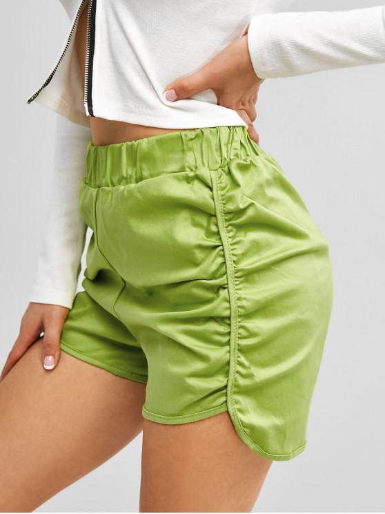 lady Ruched Dolphin Hem Casual Shorts - GREEN ONE SIZE