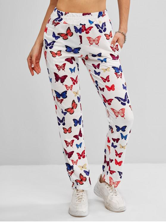High Waisted Butterfly Print Pocket Pants - أبيض S