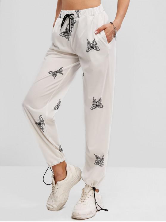 Pantalon Papillon Imprimé à Taille Haute à Cordon - Blanc L