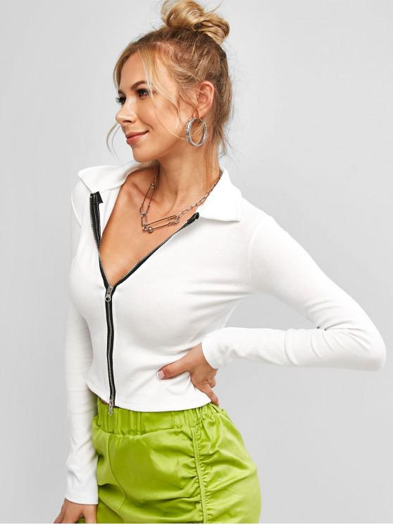 lady Ribbed Zip Front Slim Crop Top - WHITE ONE SIZE