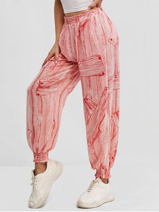 online Printed High Waisted Smocked Hem Jogger Pants - RED L