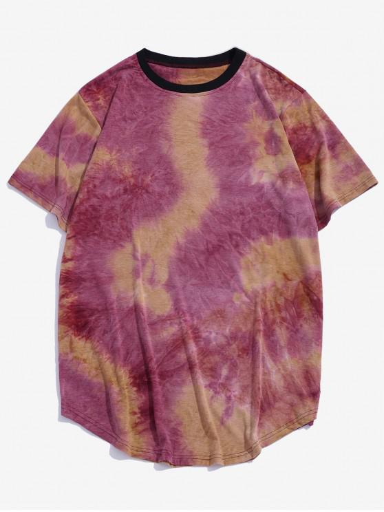 womens Tie Dye Crew Neck Longline Curved T Shirt - RED S
