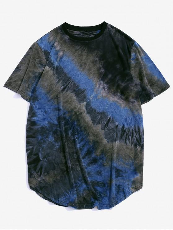 Tie Dye Crew Neck Longline Curved T Shirt - أزرق 2XL