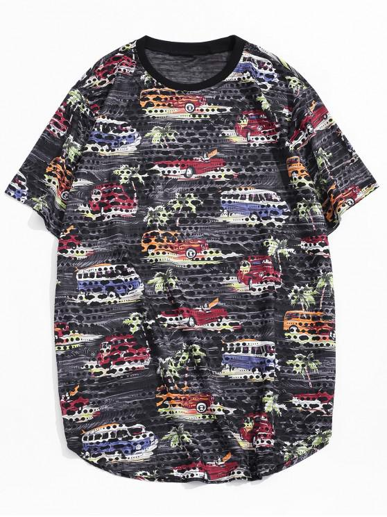 Car Palm Tree Print Sheer Patch Hole Crew Neck T Shirt - أسود XL