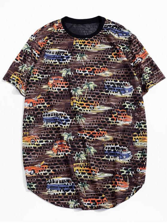 new Car Palm Tree Print Sheer Patch Hole Crew Neck T Shirt - BROWN 2XL