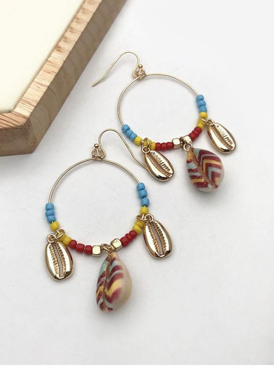 ladies Bohemian Shell Beads Circle Dangle Earrings - GOLDEN
