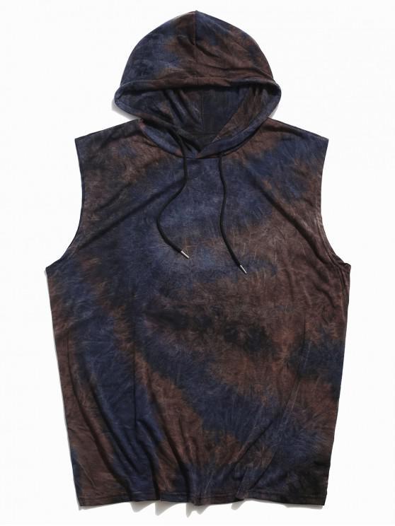 Tie Dye Casual Hooded Tank Top - طالبا الأزرق 2XL