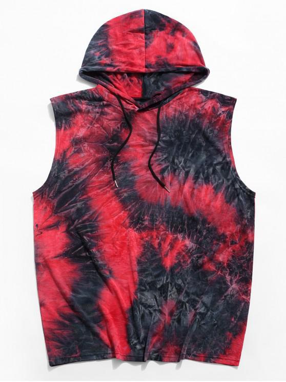Tie Dye Casual Hooded Tank Top - أحمر M