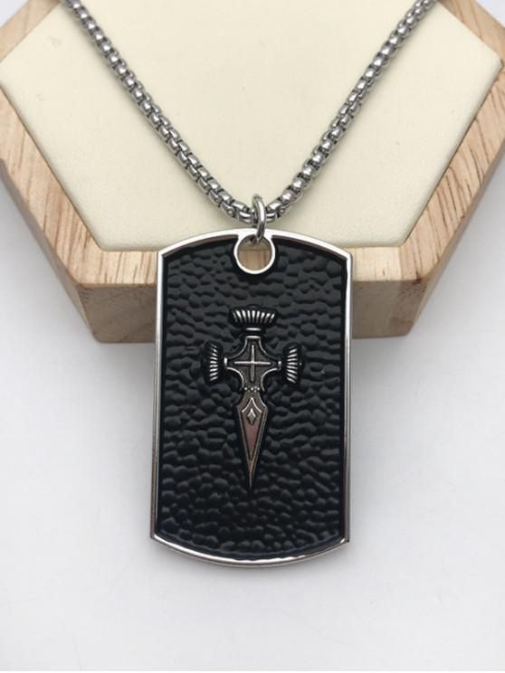 best Embossed Plate Pendant Necklace - SILVER