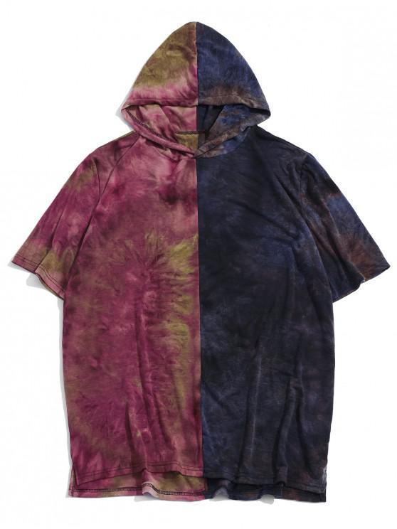 Camiseta Casual Capucha de Tie Dye con Color Bloque - Púrpura 2XL