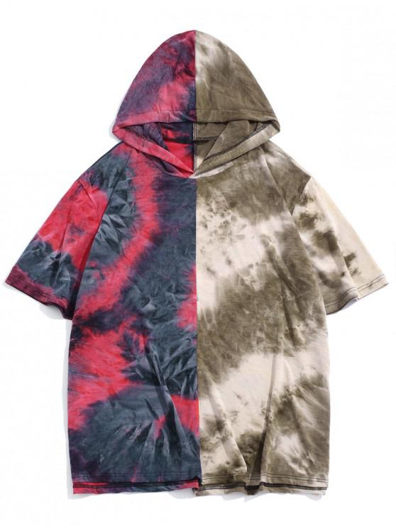 Color Block Tie Dye Hooded Casual T Shirt - أحمر M