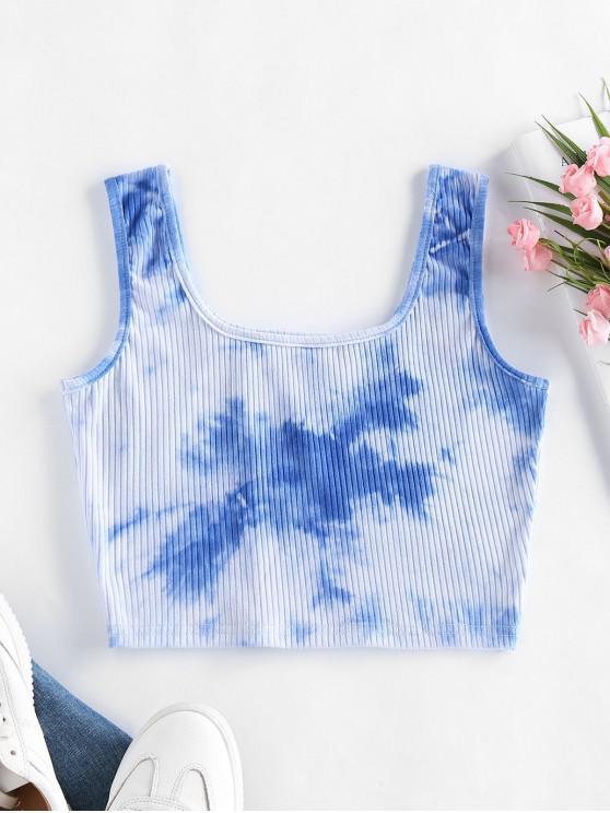 chic ZAFUL Basic Tie Dye Ribbed Crop Top - DEEP SKY BLUE S
