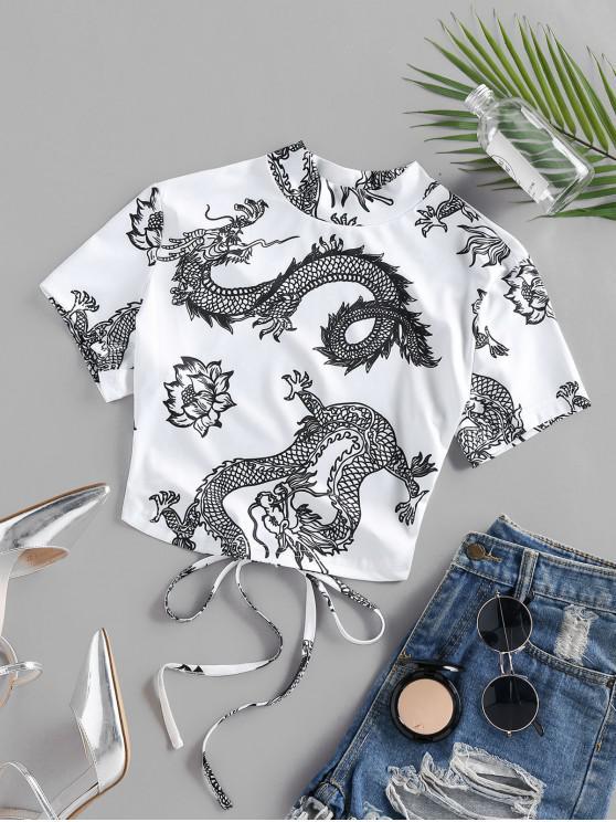 fancy ZAFUL Dragon Flower Print Oriental Open Back Crop T-shirt - WHITE L