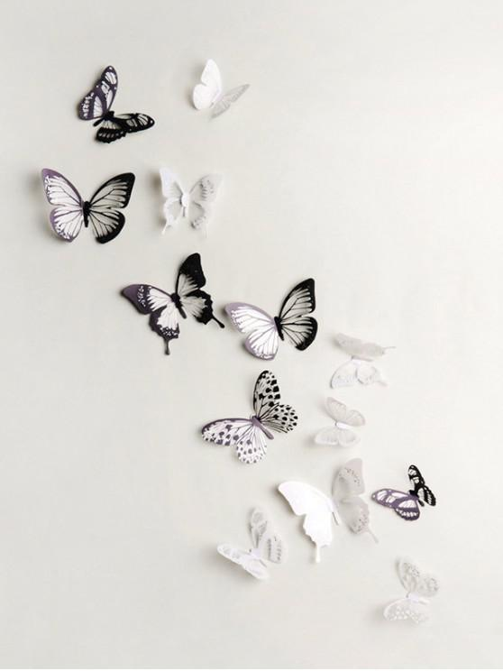 3D Colorful Butterfly Wall Decorative Stickers Set - متعددة-A 18 قطعة