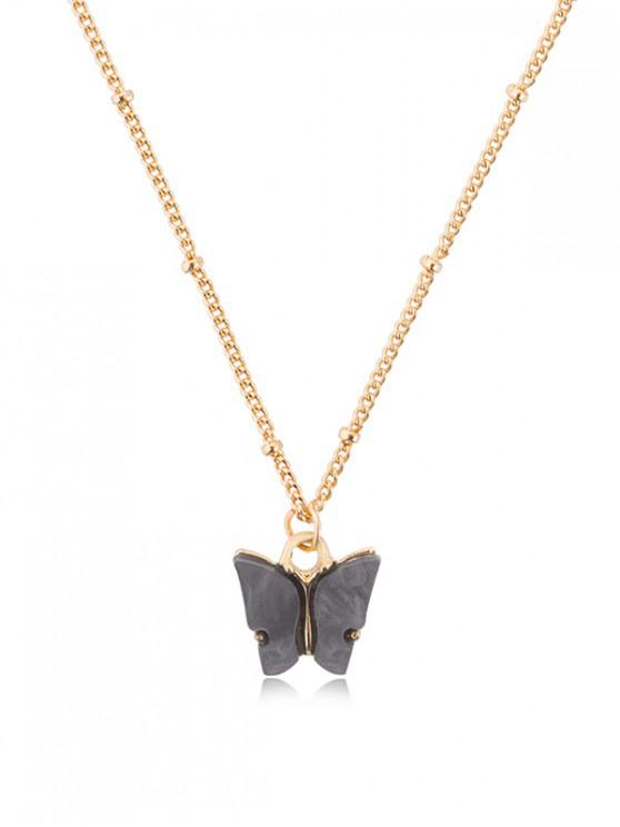 chic Acrylic Butterfly Pendant Chain Necklace - CARBON GRAY