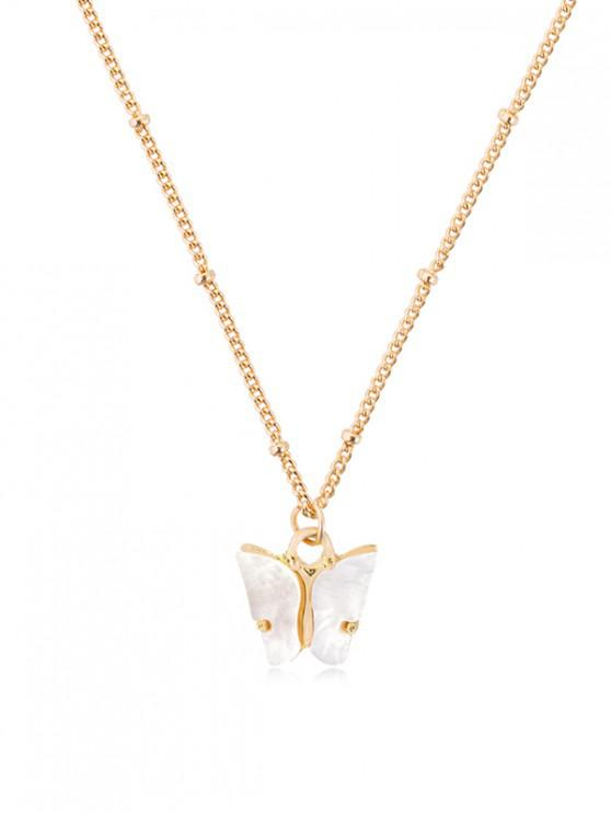 fancy Acrylic Butterfly Pendant Chain Necklace - WHITE