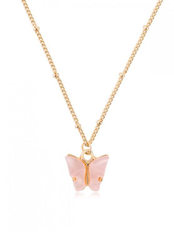 affordable Acrylic Butterfly Pendant Chain Necklace - SAKURA PINK