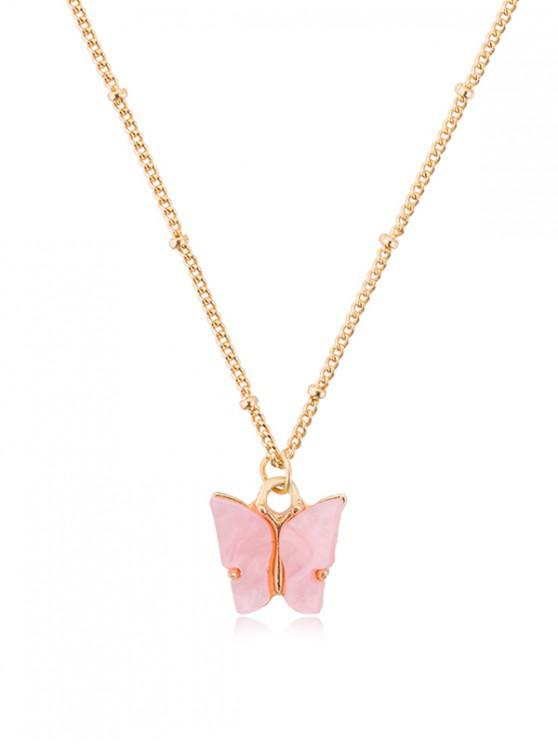 buy Acrylic Butterfly Pendant Chain Necklace - WATERMELON PINK
