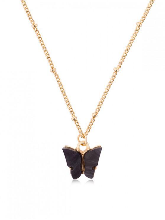 Collar de Cadena de Mariposa de Acrílico Colgante - Negro