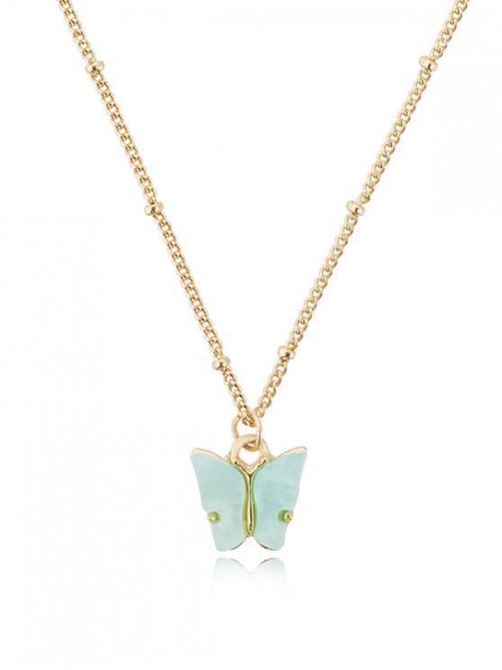 Acryl Schmetterling Anhänger Kette Halskette - Korallenblau