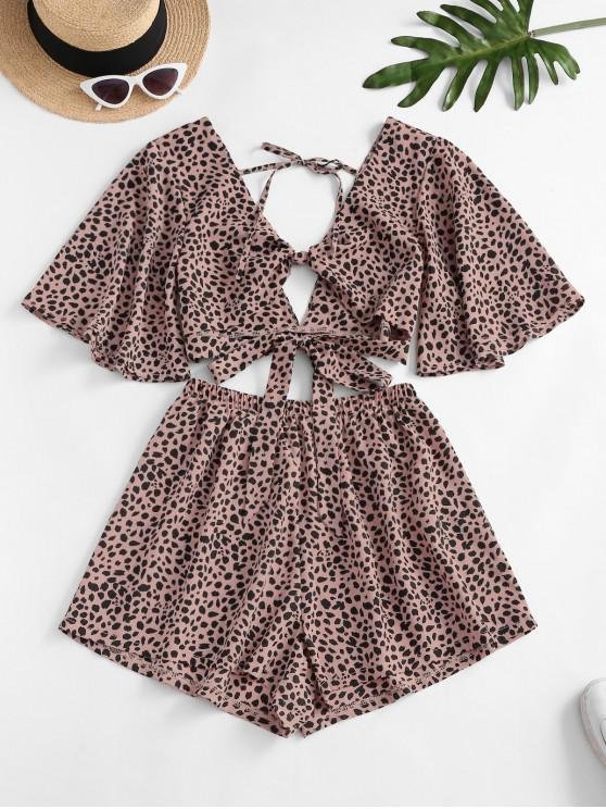 chic Dalmatians Dots Knotted Two Piece Set - LIGHT PINK XL