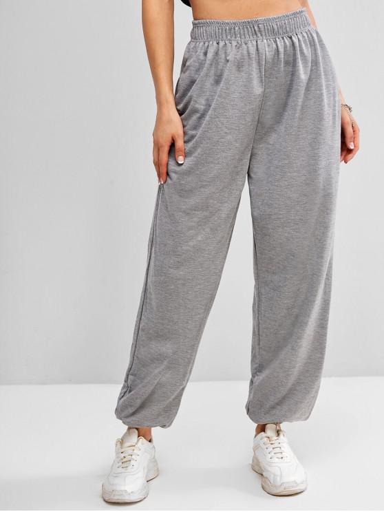 Pantaloni da Jogging Sportivi a Vita Alta con Tasca - Grigio M