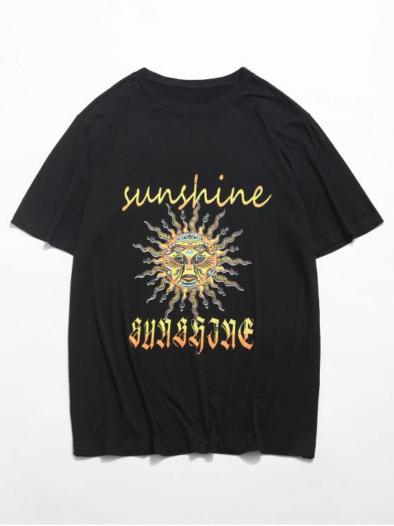 buy Sun and Sunshine Graphic T-shirt - BLACK 2XL