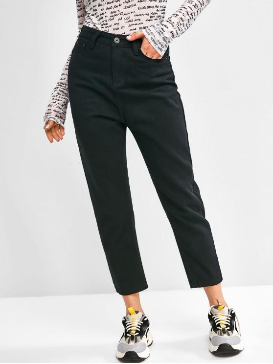 trendy Basic Mom Jeans - BLACK XL