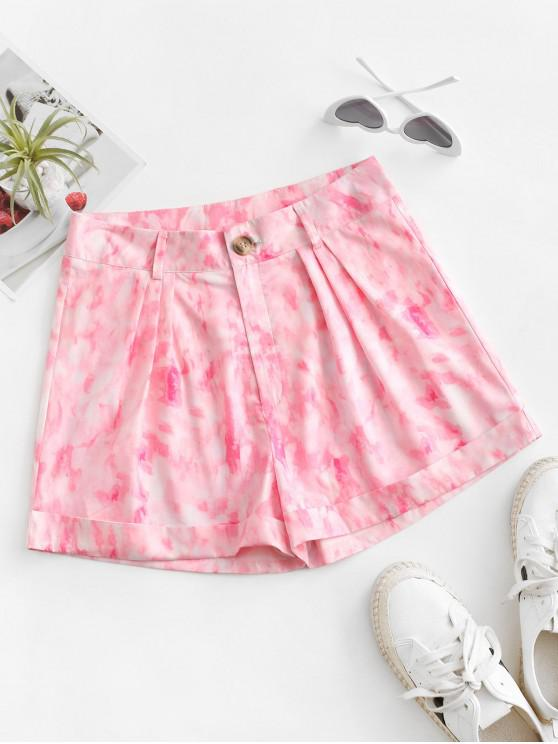 affordable Tie Dye Zip Fly Cuffed Shorts - LIGHT PINK M