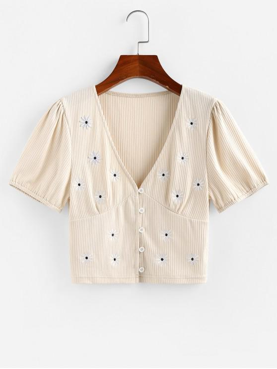 best ZAFUL Ribbed Daisy Embroidered Plunging Top - LIGHT YELLOW S