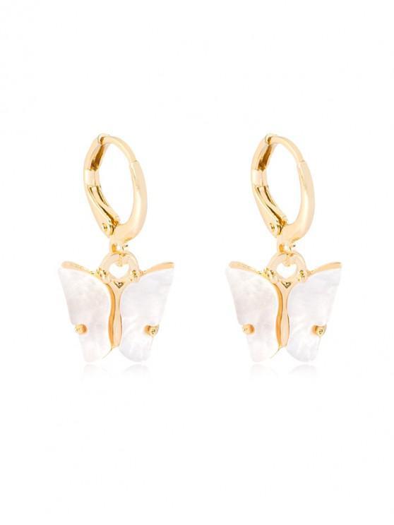 buy Butterfly Pendant Small Hoop Earrings - WHITE