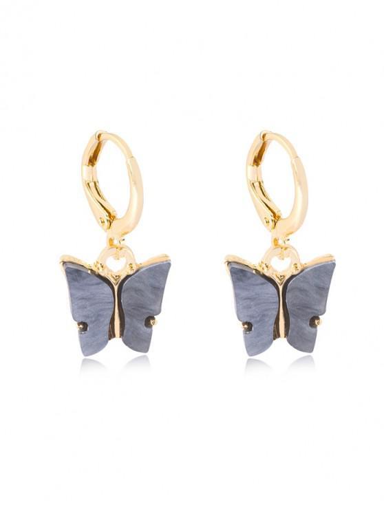 women Butterfly Pendant Small Hoop Earrings - CARBON GRAY