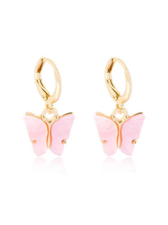 best Butterfly Pendant Small Hoop Earrings - PIG PINK