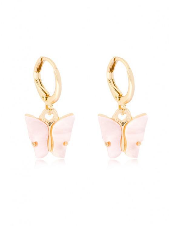 online Butterfly Pendant Small Hoop Earrings - SAKURA PINK