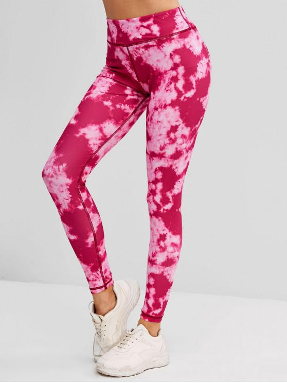 best Tie Dye Topstitching High Rise Leggings - RED S