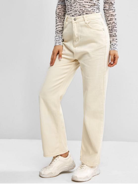 Zip Fly Basic Straight Jeans - أبيض L