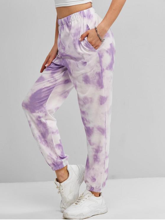 lady ZAFUL Tie Dye Pocket Jogger Pants - LIGHT PURPLE S