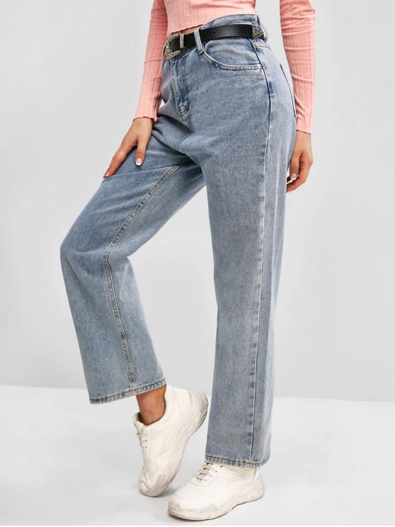 fashion Zip Fly Basic Straight Jeans - LIGHT BLUE L