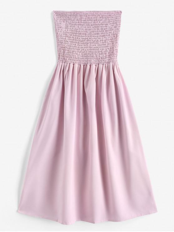 trendy Smocked A Line Tube Dress - LIGHT PINK S