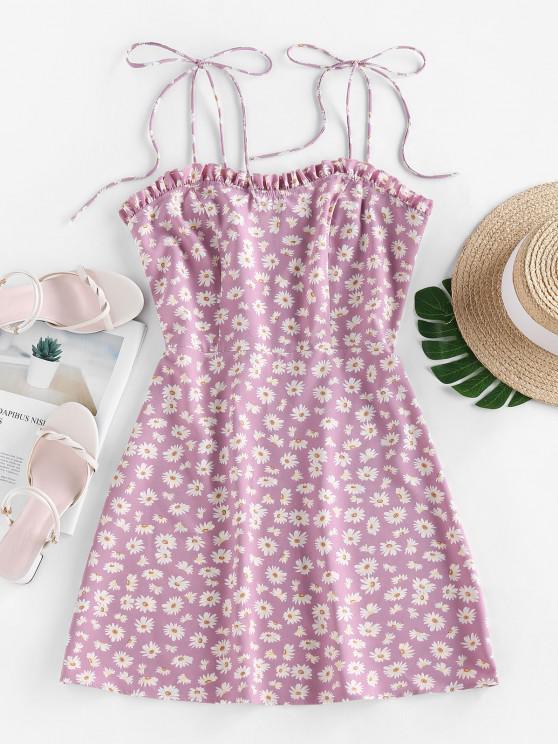 ZAFUL Mini Vestido Cami com Estampa de Margarida - Luz roxa S