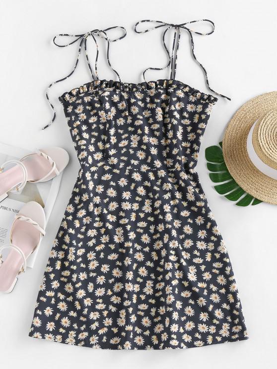 hot ZAFUL Daisy Print Mini Cami Dress - BLACK M