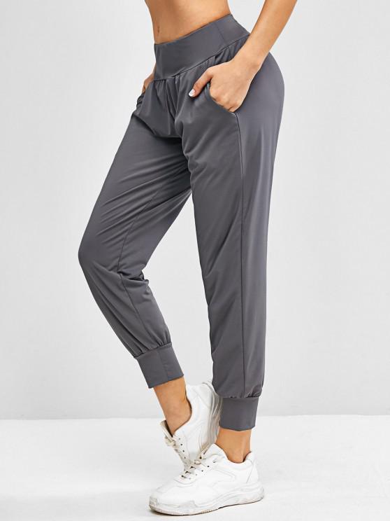 Side Pocket High Rise Yoga Jogger Pants - اللون الرمادي S