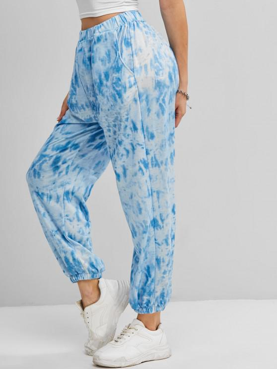 trendy Tie Dye Pocket High Waisted Jogger Pants - BLUE M