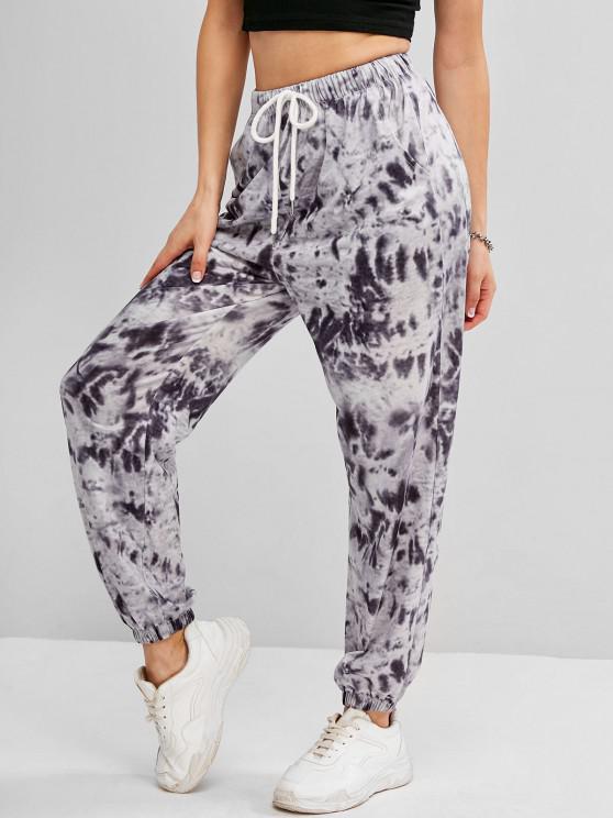 latest Tie Dye Drawstring Pocket Jogger Pants - GRAY M