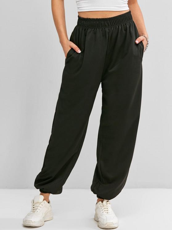 trendy High Waisted Pocket Jogger Sweatpants - BLACK M